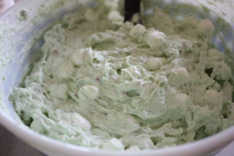 Watergate Salad with organic ingredients and aspartame-free jello.