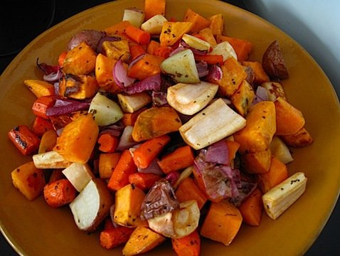 Roasted Root Vegetables (semi adapted from this recipe )