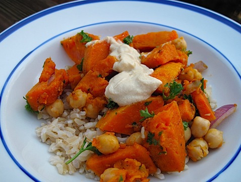 TUES: Warm Butternut Squash & Chickpea Salad with Tahini (serves 2-4)