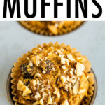 Oat bran muffin topped with walnuts.