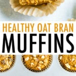 Oat bran muffins made with walnuts, raisins, and carrots.