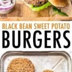 Black bean burgers on buns with fixings and sitting on a wood cutting board. Below is a photo of a sheet pan with 5 black bean burgers.