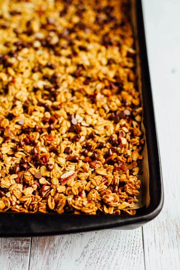 Chocolate Pecan Pumpkin Granola on a baking sheet.