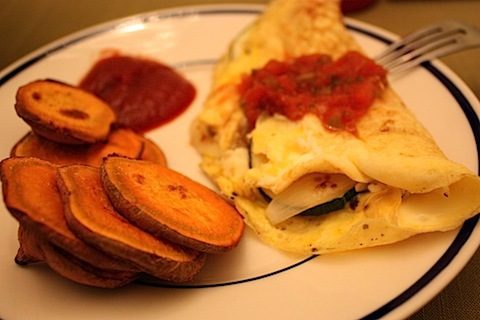 omelet and sweet tater