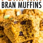 Pumpkin bran muffin with a bite taken out of it.