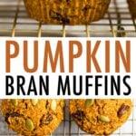 Pumpkin Bran Muffins on a cooling rack.