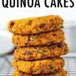 Five sweet potato quinoa cakes stacked.