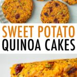 Sweet potato cakes on a plate and stacked on a cooling rack.