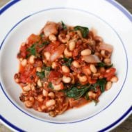 Vegan Black Eyed Peas with Tomatoes and Greens