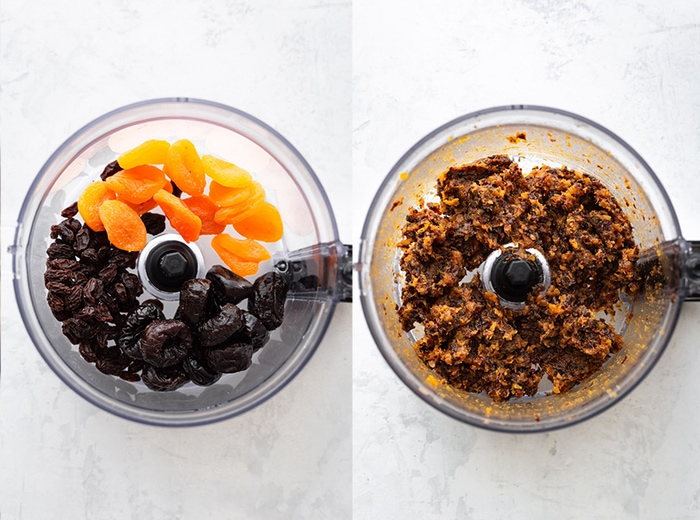 Side by side image with dried fruit in a food processor. The first image shows fruit whole and then second shows fruit processed.