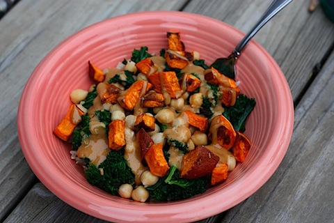 Kale and Sweet Potato Brown Rice Bowl - Eating Bird Food