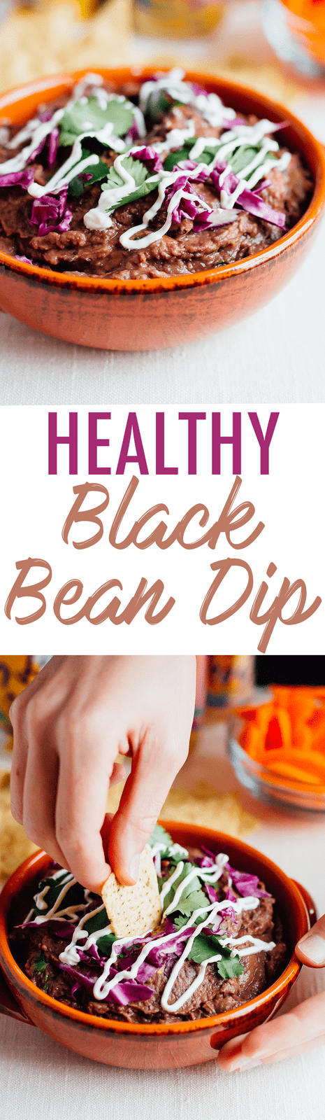 Healthy and easy black bean dip that takes only 15 minutes. Perfect for parties, game day or Mexican night. Just serve with veggies or tortilla chips!