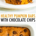 Pumpkin bars with chocolate chips in a stack, and in a baking sheet.