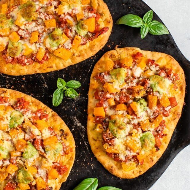 Naan Pizza with Butternut Squash and Pesto
