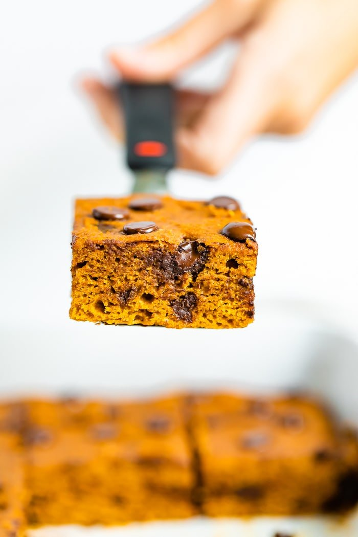 Spatula lifting up a pumpkin bar with chocolate chips from a baking dish.