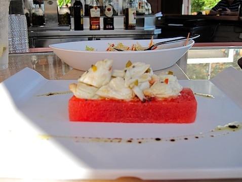 crab salad over watermelon.JPG