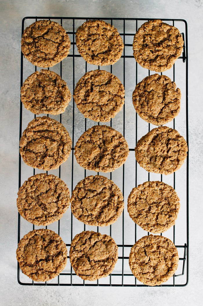Almond butter espresso cookies on a cooling rack.