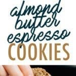 Collage of almond butter espresso cookies. Stack of cookies and a hand dipping a cookie in a mug of milk.