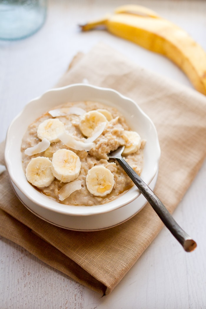 Tropical oats with banana, coconut and a drizzle of maple syrup.