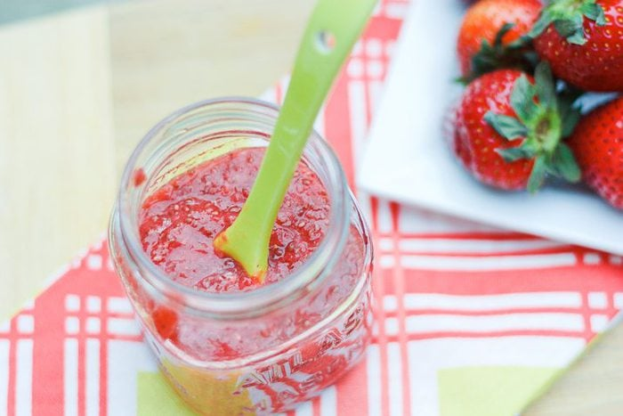 Easy homemade jam recipe with strawberries, chia seeds and no added sugar