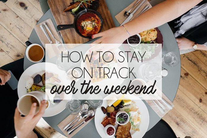Tips from a health coach for how to stay on track with health goals over the weekend!