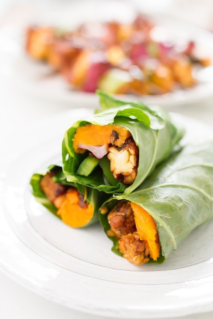 Tempeh Sweet Potato Collard Wraps