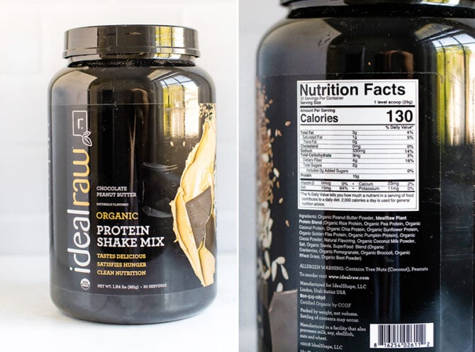 Container of IdealRaw Chocolate Peanut Butter protein powder and a picture of the nutrition label