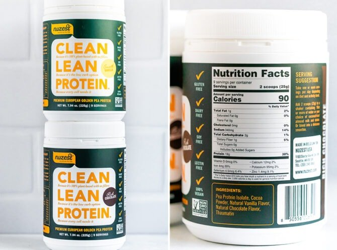 Two containers of Nuzest protein powder stacked and a picture of the nutrition label