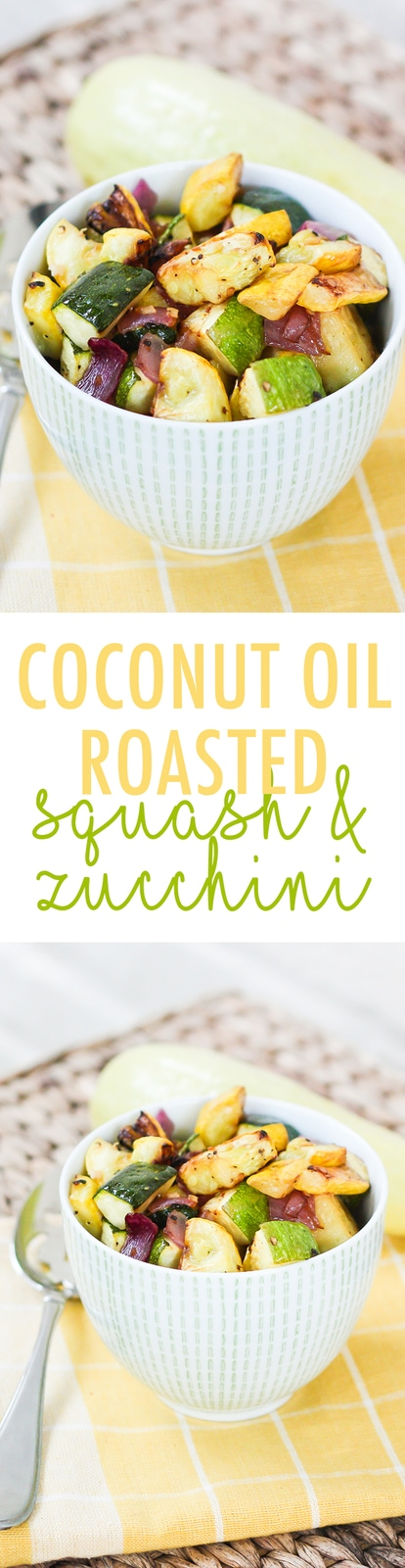 An easy summer side, this coconut oil roasted summer squash and zucchini recipe is healthy, easy and so flavorful.