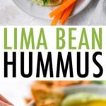 Tow photos. One is of a bowl of lima bean hummus served with veggies and crackers. The second is a person dipping a cracker into a bowl of hummus.