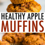 Photos of apple muffins. Muffins stacked on top fo each other, and muffins on a cooling rack.