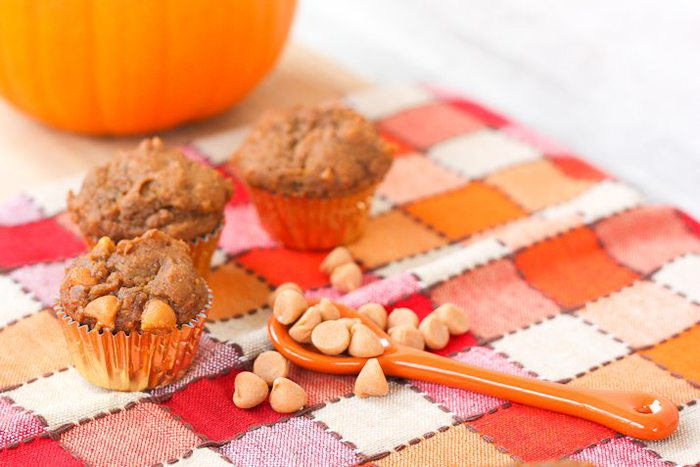 Mini Vegan Pumpkin Muffins with Butterscotch Chips
