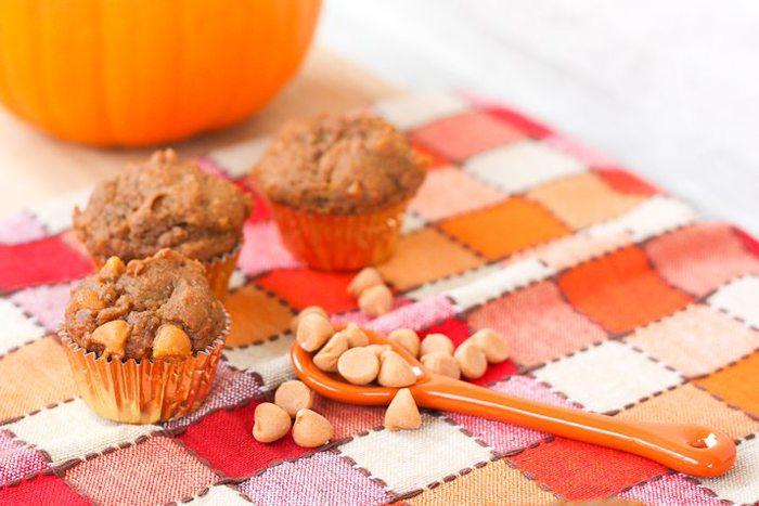 Mini Vegan Pumpkin Muffins with Butterscotch Chips