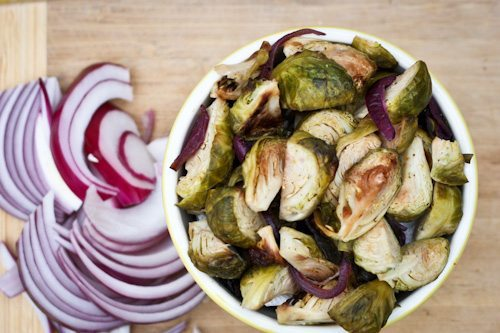 Roasted Brussels Sprouts and Onions