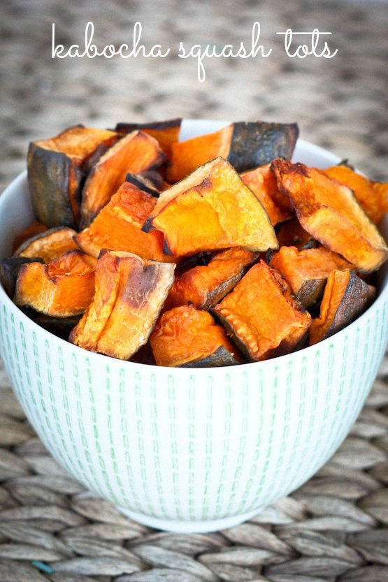 Kabocha squash is lightly coated with coconut oil and sea salt and roasted to perfection. The squash pieces taste awesome dipped in ketchup just like tater tots.