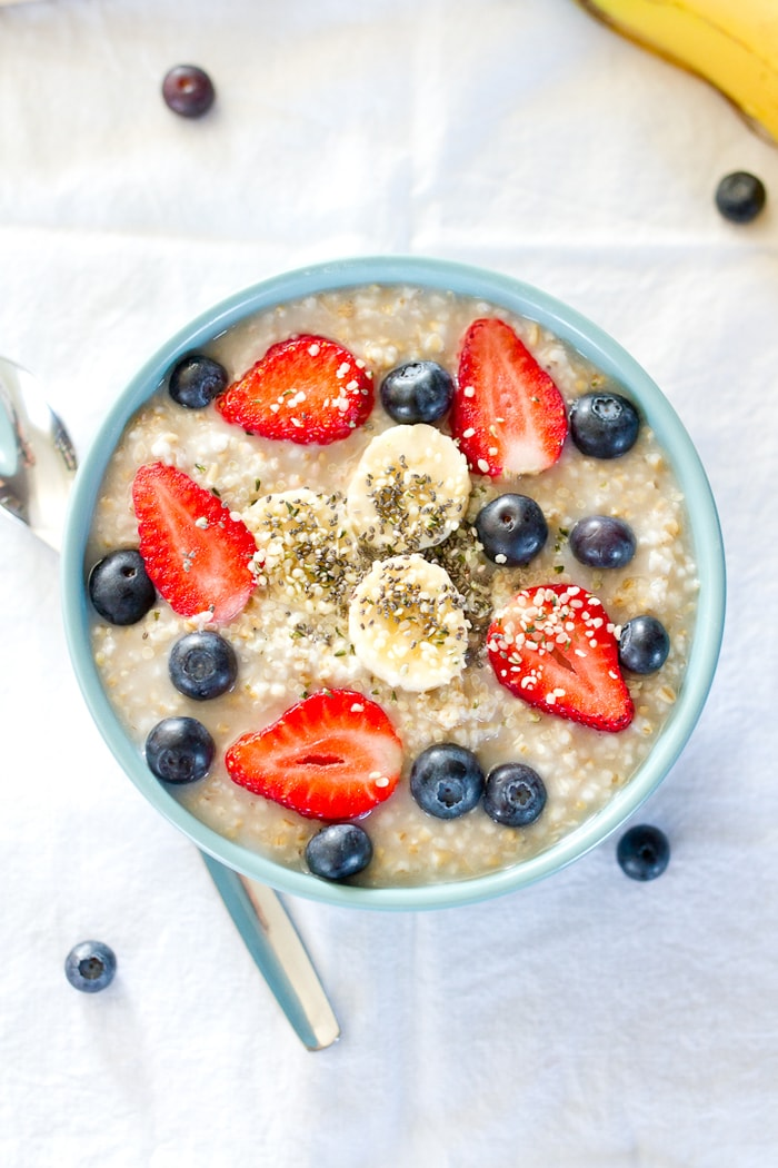 Use the overnight method to make a large batch of creamy steel-cut oats that can be reheated for a quick breakfast throughout the week!