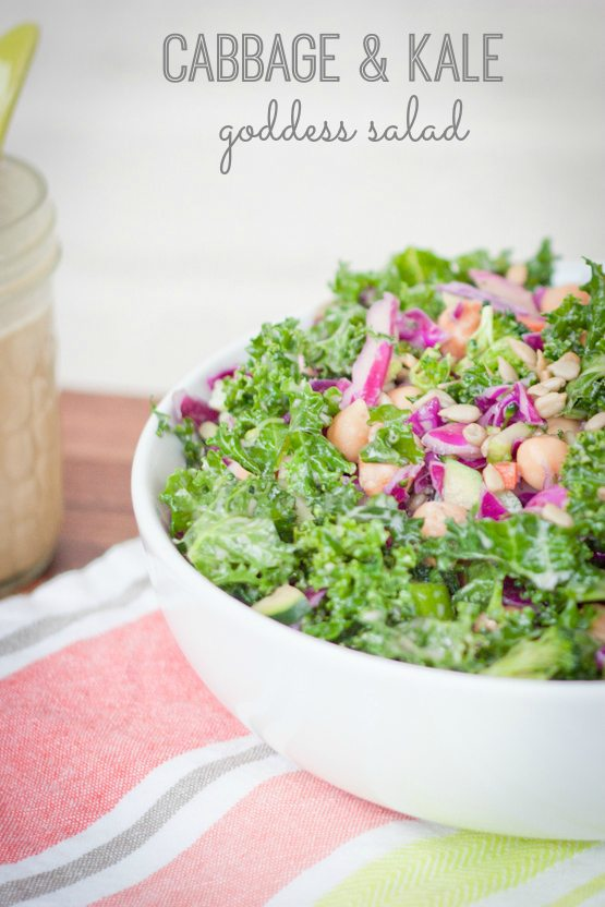 A lovely kale and cabbage salad with broccoli florets, chickpeas and sunflower seeds coated with a light apple cider vinegar goddess dressing.