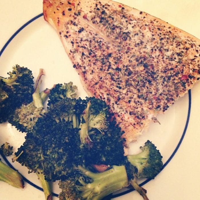 Arctic char with broccoli