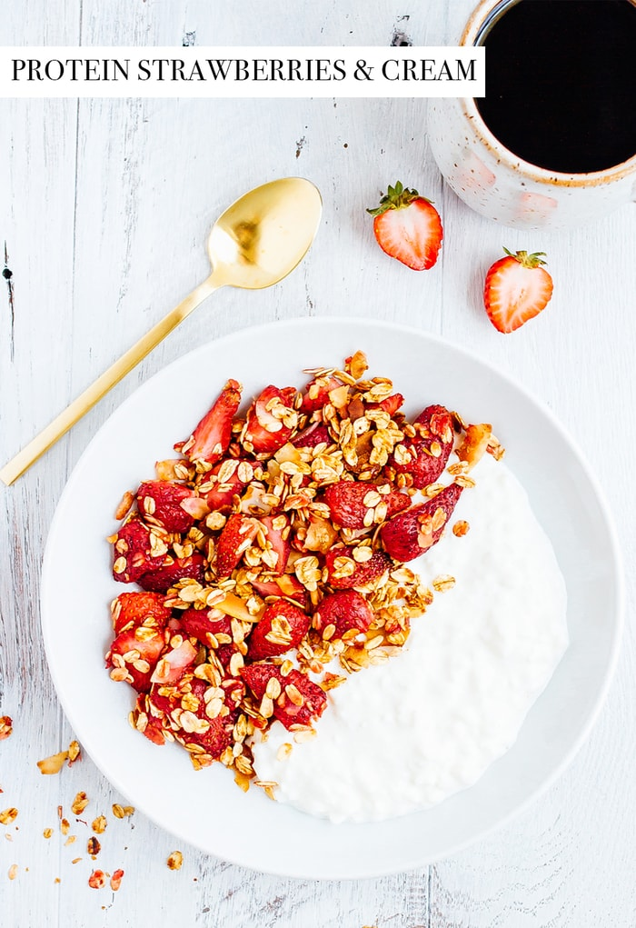 roasted strawberry cottage cheese bowl eating bird food