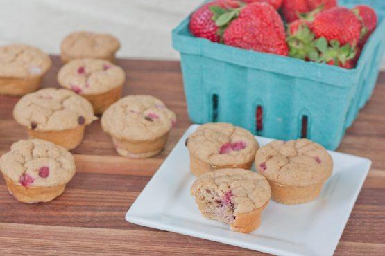 Mini Strawberry Chocolate Chip Protein Muffins
