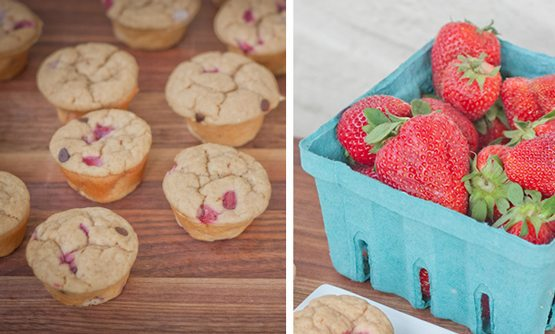 Mini Strawberry Chocolate Chip Protein Muffins
