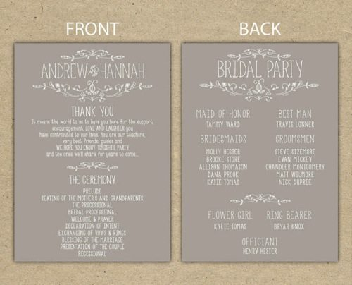 Rusticweddingprogram