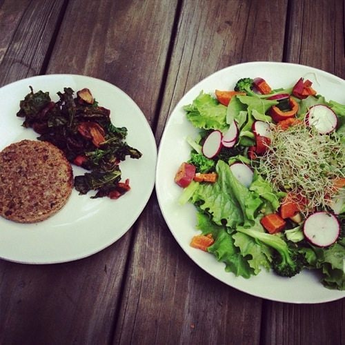 Salad greens veggie burger