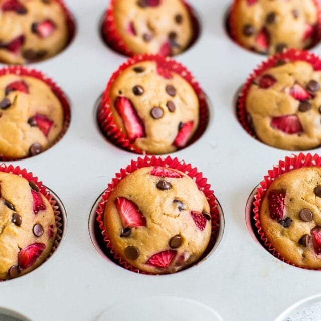 Strawberry Protein Muffins with Chocolate Chips