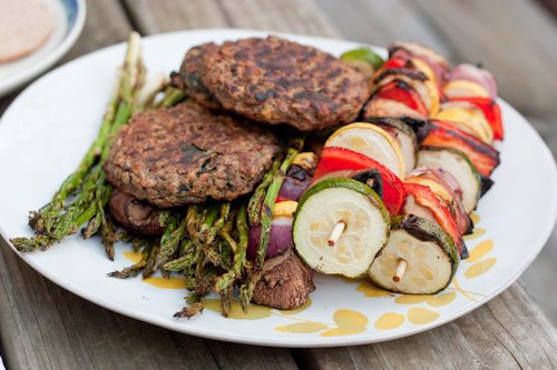 grilled veggies and burgers