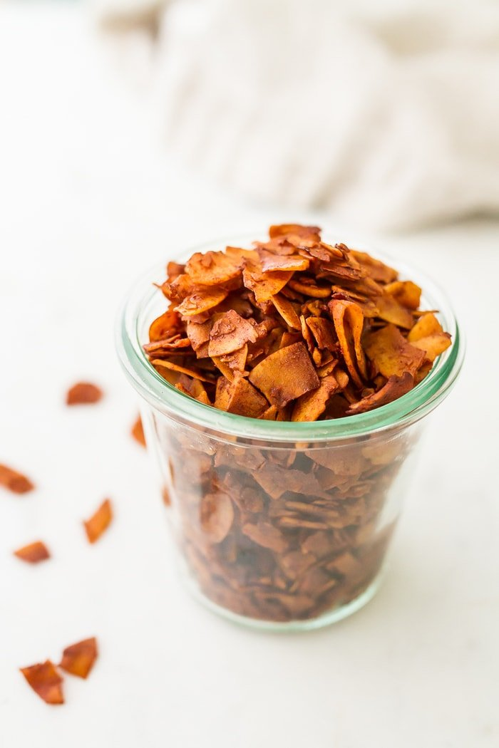 Vegan Coconut Bacon is a clear glass jar.
