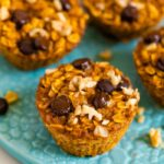 Four baked pumpkin oatmeal cups on a plate and one on the table next to the plate. Oatmeal cups are topped with chocolate chips and walnuts.