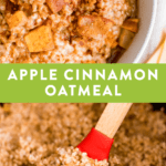 Healthy apple cinnamon oatmeal in a bowl, as well as in a slow cooker being stirred with a spatula.