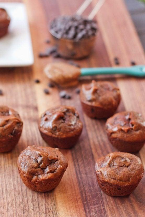 Flourless Pumpkin Spice Chocolate Chip Muffins
