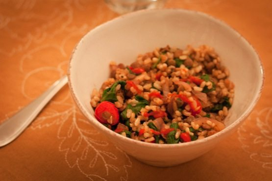 brown rice and lentil bowl